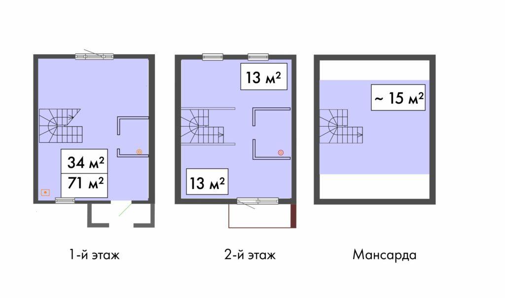 планировка таунхауса 71 кв.м. в ЖК Ломоносовская усадьба