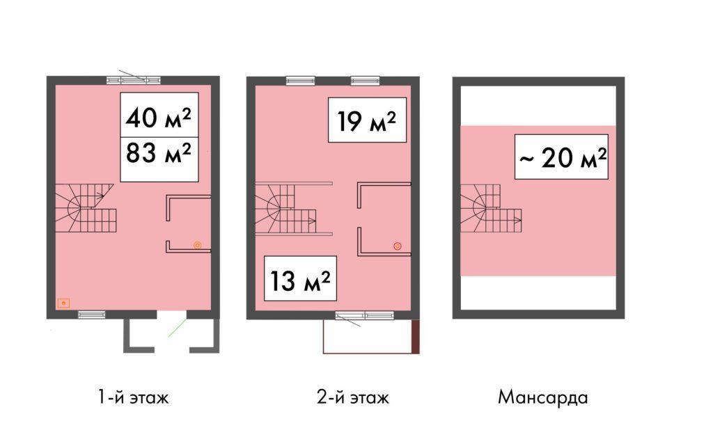 планировка таунхауса 83 кв.м. в ЖК Ломоносовская усадьба