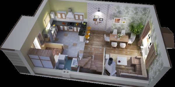 3D-визуализация 1 этажа в доме