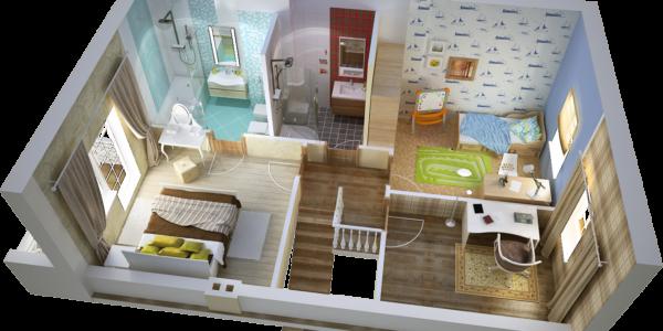 3D-визуализация 2 этажа в доме