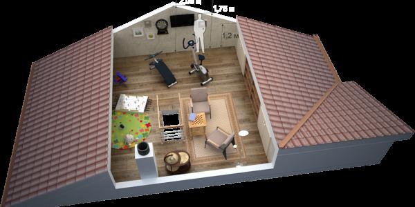 3D-визуализация мансарды в доме