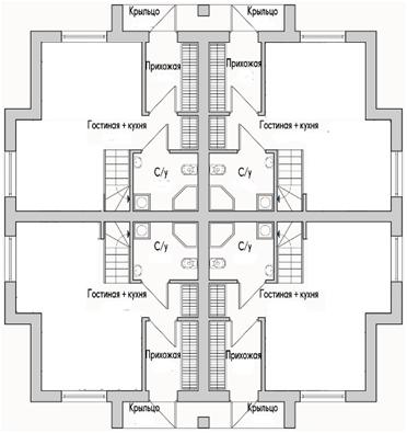 Квадрохаус на 4 семьи, с равноценными земельными участками